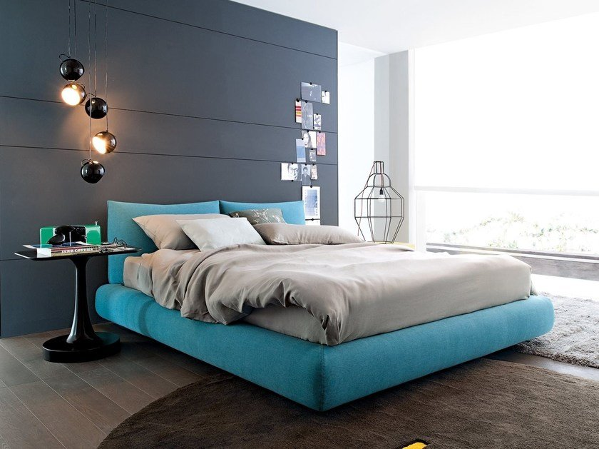 Fabric double bed with upholstered headboard DREAM | Fabric bed by poliform