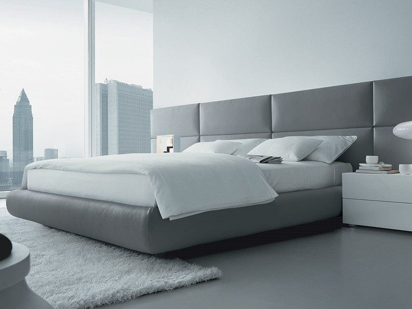 leather double bed with upholstered headboard dream imitation leather bed by poliform - Leather Bed