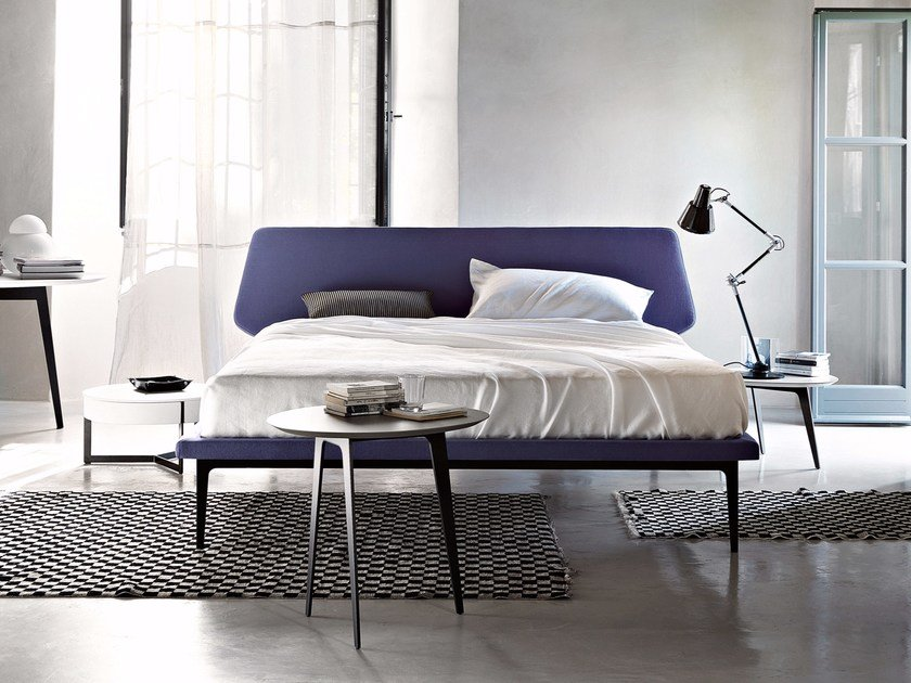Fabric double bed with upholstered headboard DREAM VIEW by Lema