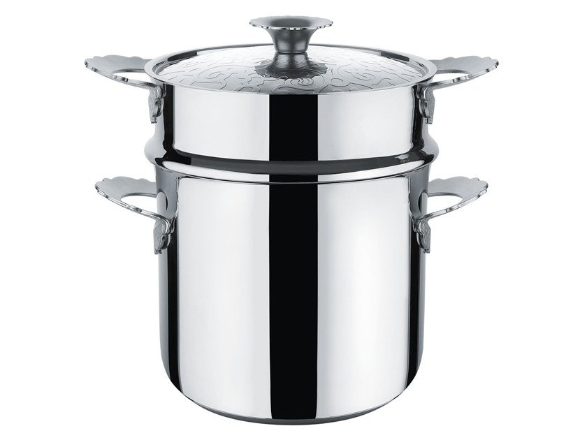 Steel pot / pasta strainer DRESSED   Pasta-set by Alessi