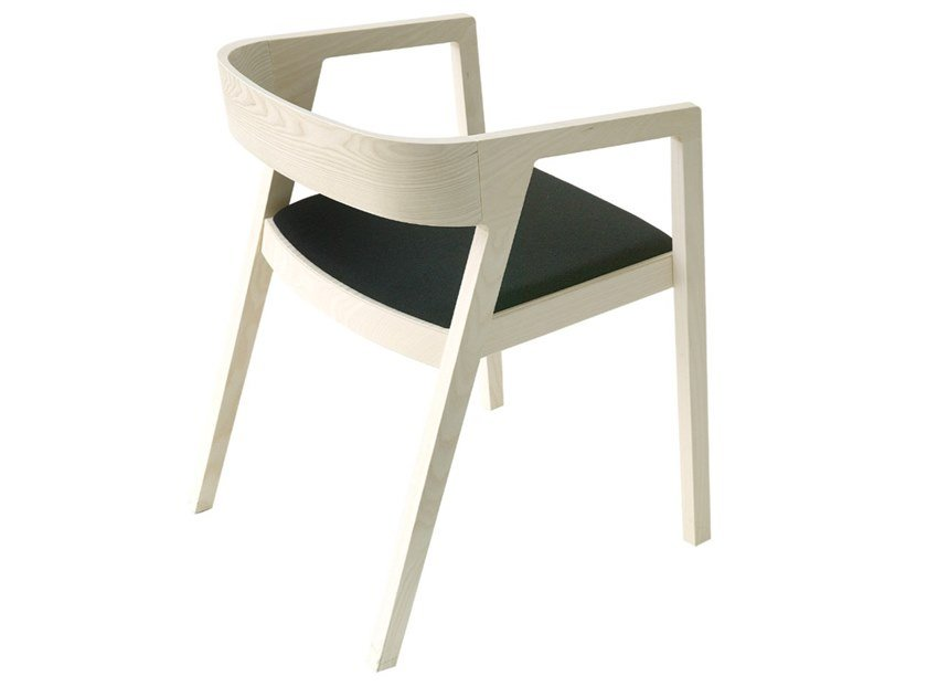 Ash armchair with armrests DRIVE | Chair with integrated cushion by Bedont