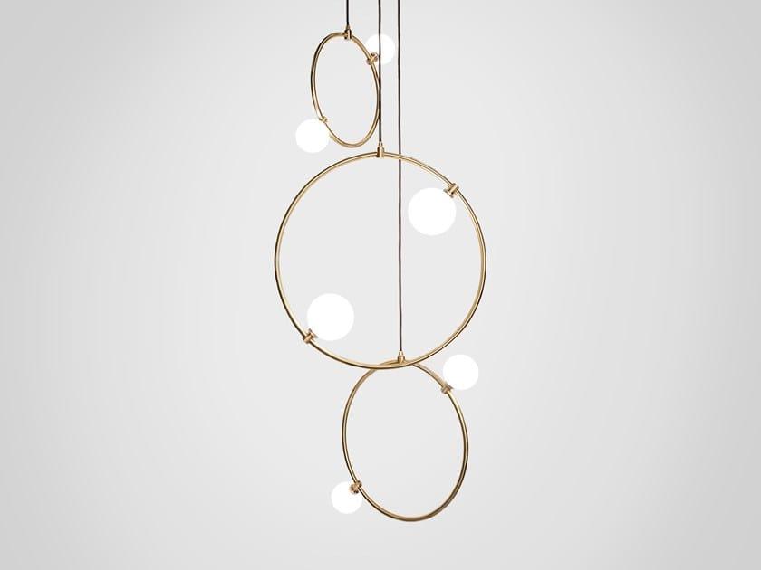 LED handmade brass pendant lamp DROPS CLUSTER 3 by Marc Wood Studio