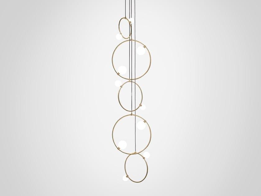 LED handmade brass pendant lamp DROPS CLUSTER 5 by Marc Wood Studio