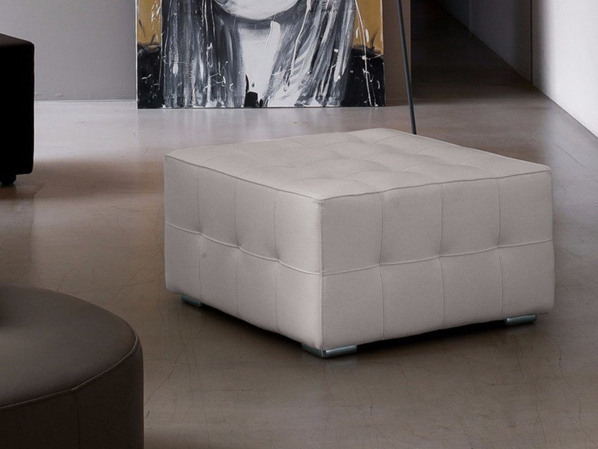 Tufted upholstered leather pouf DRY by Dall'Agnese