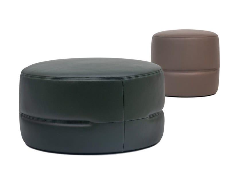 Round leather pouf DS-760 by de Sede