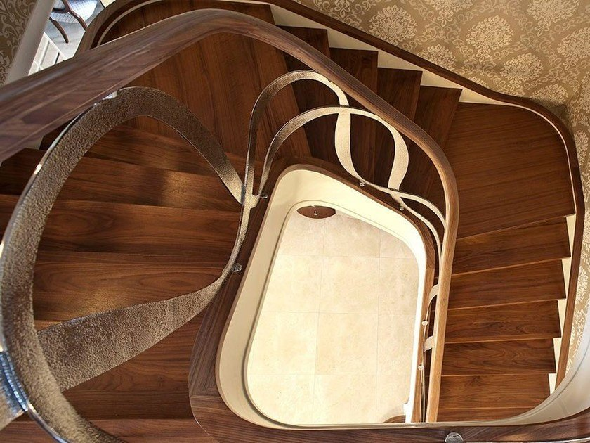 U-shaped solid wood Open staircase DUBAI   Solid wood Open staircase by Siller Treppen