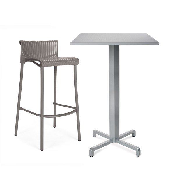 Contemporary style high stackable stool with footrest DUCA by Nardi