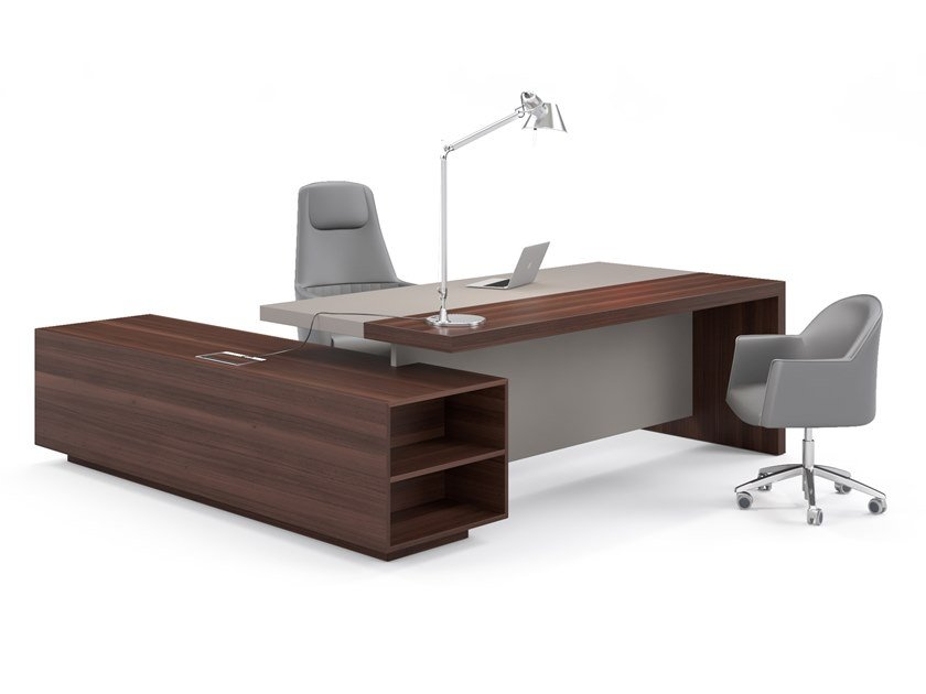 L-shaped office desk with cable management DUCALE by ESTEL GROUP