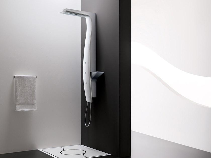 Wall-mounted shower panel with overhead shower DUNA by ARBLU
