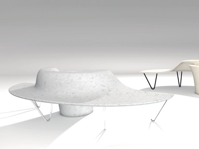 Curved reconstructed stone Bench with Integrated Planter with back DUNA by Manufatti Viscio