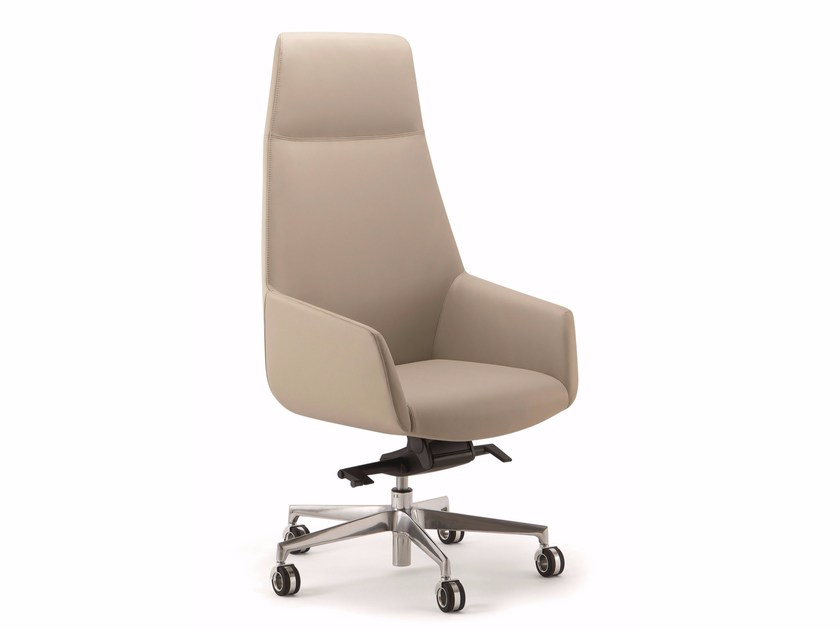 High-back leather executive chair with 5-spoke base with armrests DUNE | High-back executive chair by Quadrifoglio