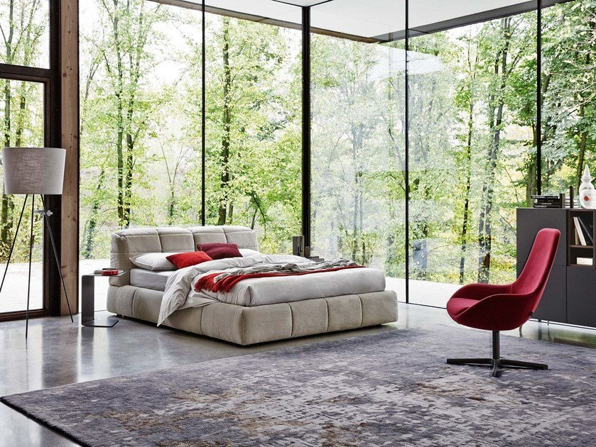 Storage bed with removable cover DUNN | Bed with upholstered headboard by Ditre Italia