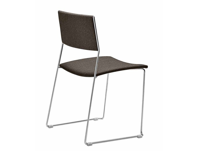 Sled base stackable fabric chair DUO 140 | Fabric chair by Metalmobil