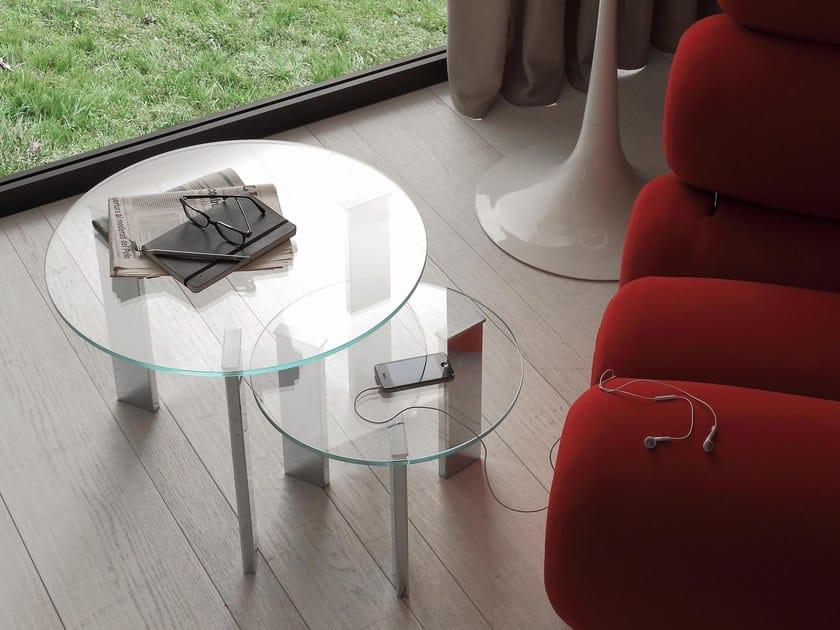 Tavolino di servizio rotondo in vetro DUO by IDEAS Group