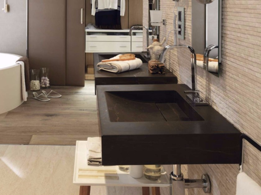 Rectangular wall-mounted natural stone washbasin DUOMO PLUS by L'antic Colonial