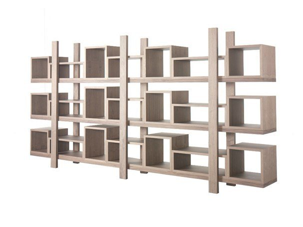 Open double-sided lacquered wood veneer bookcase DURAS by AZEA