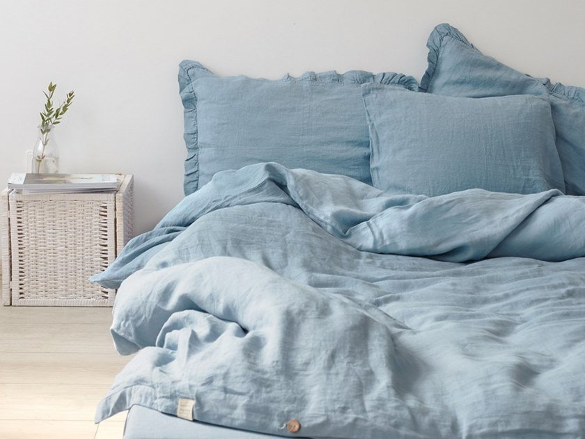 Washed Linen Bed Set Dusty Blue Bedding By Tales