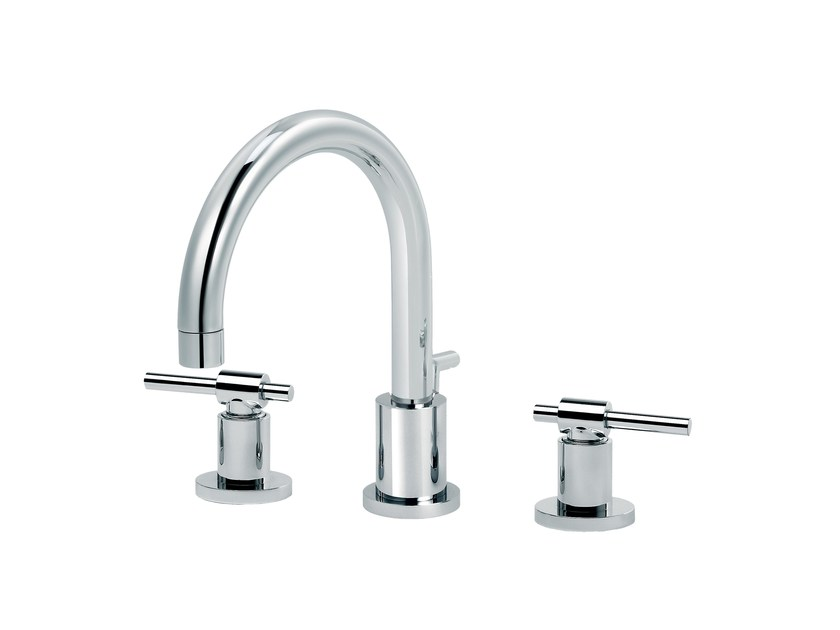 3 hole countertop washbasin mixer with individual rosettes DYNAMIC | 3 hole washbasin mixer by rvb