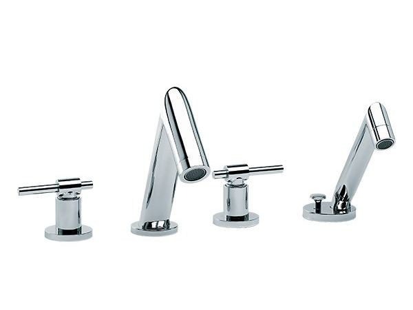 4 hole bathtub set with hand shower DYNAMIC | 4 hole bathtub set by rvb