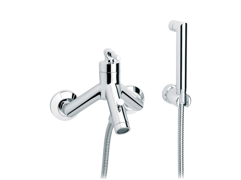 2 hole wall-mounted bathtub mixer with hand shower DYNAMIC | Wall-mounted bathtub mixer by rvb