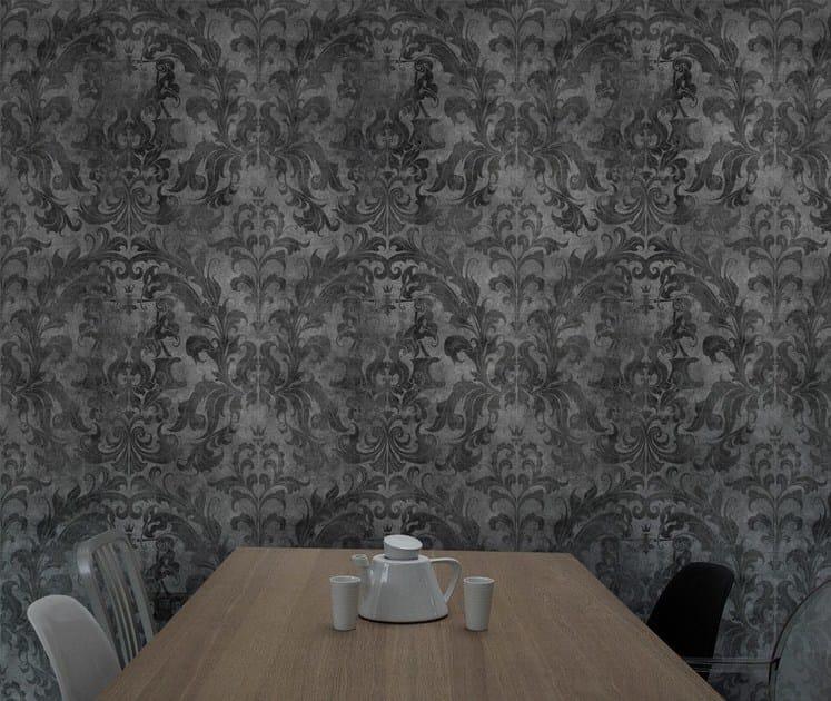 Wallpaper DARK URBAN CONCRETE DAMASK by Mineheart