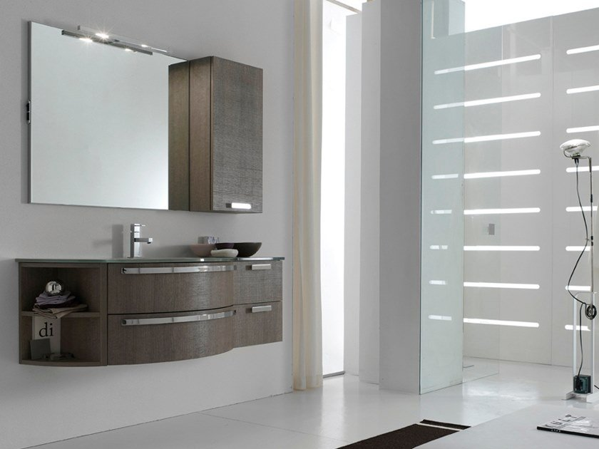 Sectional single vanity unit with mirror E.LY INCLINATO - COMPOSITION 15 by Arcom