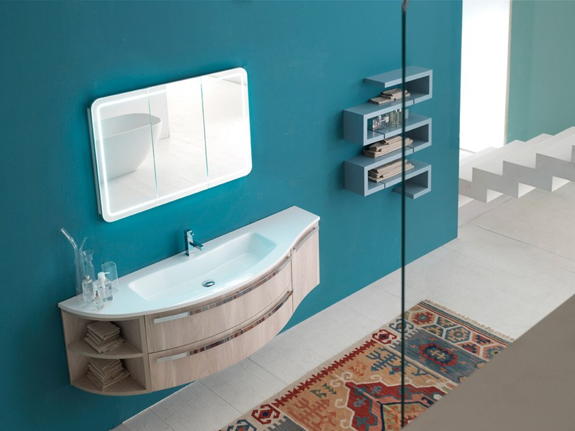 Wall-mounted vanity unit with mirror E.LY INCLINATO - COMPOSITION 20 by Arcom