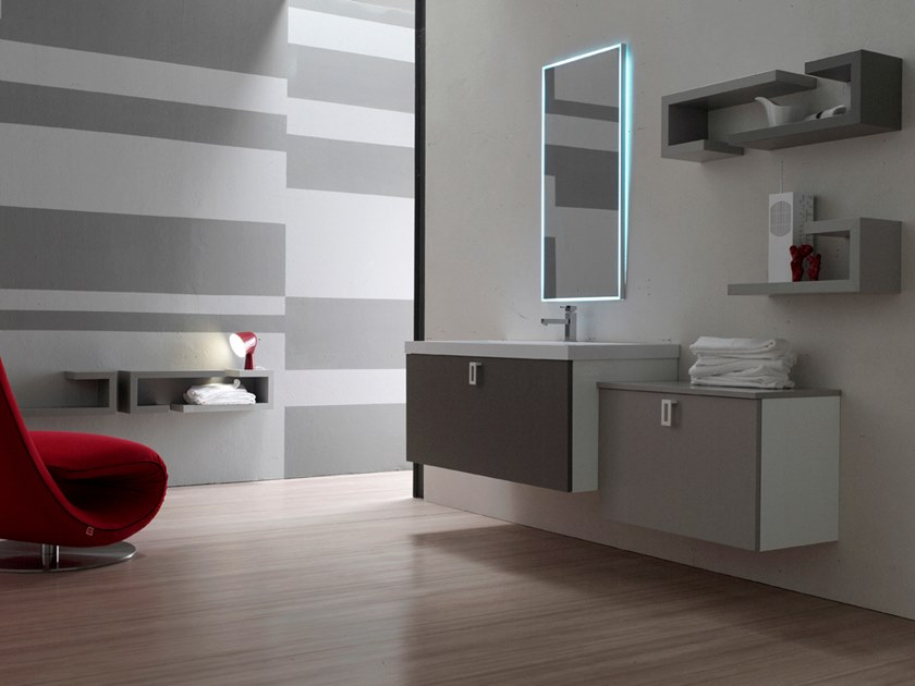 Sectional wall-mounted vanity unit with mirror E.LY INCLINATO - COMPOSITION 22 by Arcom