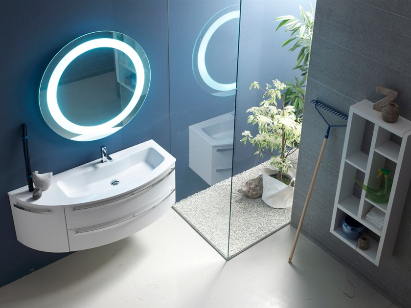 Sectional lacquered wall-mounted vanity unit E.LY INCLINATO - COMPOSITION 26 by Arcom