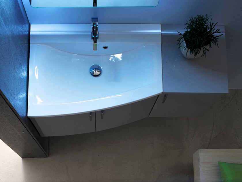 Sectional wall-mounted vanity unit with mirror E.LY INCLINATO - COMPOSITION 28B by Arcom