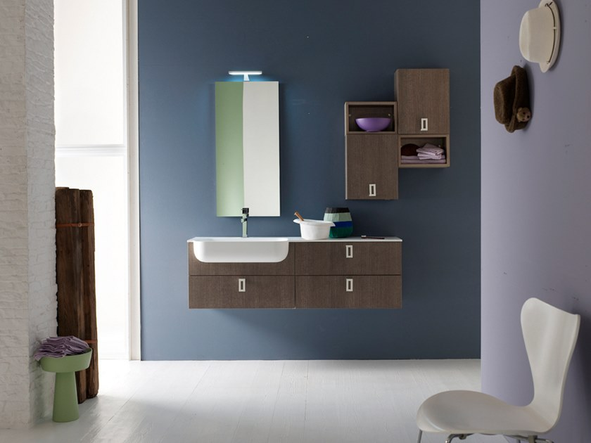 Sectional wall-mounted vanity unit with drawers E.LY INCLINATO - COMPOSITION 33 by Arcom