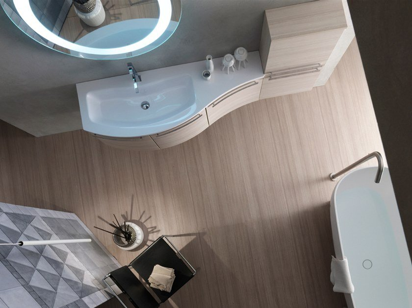 Sectional wall-mounted vanity unit with mirror E.LY INCLINATO - COMPOSITION 35 by Arcom