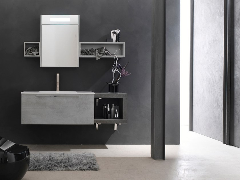 Sectional wall-mounted vanity unit with mirror E.LY INCLINATO - COMPOSITION 40 by Arcom