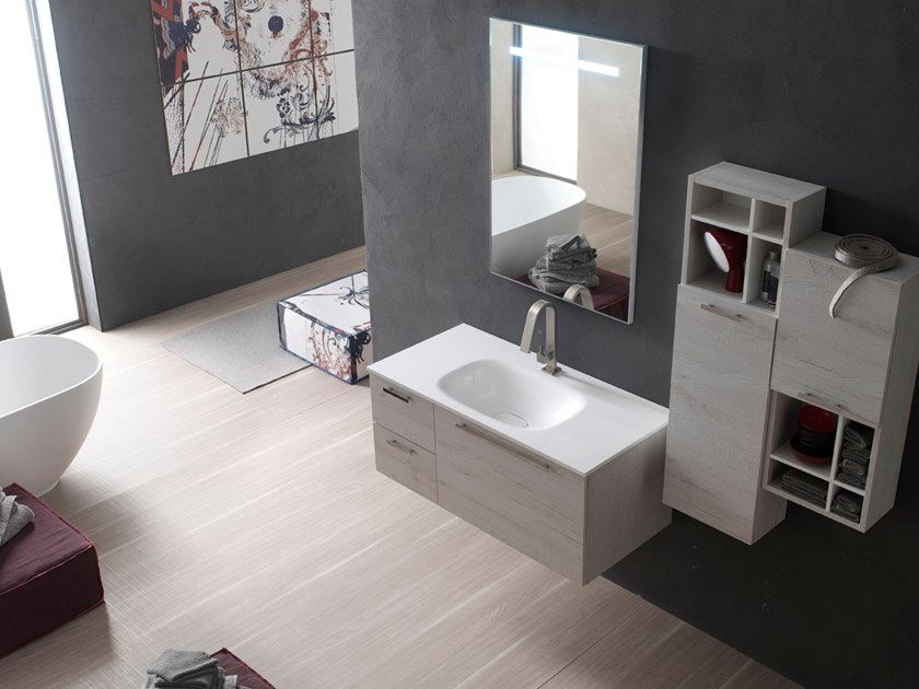 Sectional wall-mounted vanity unit with mirror E.LY INCLINATO - COMPOSITION 41 by Arcom