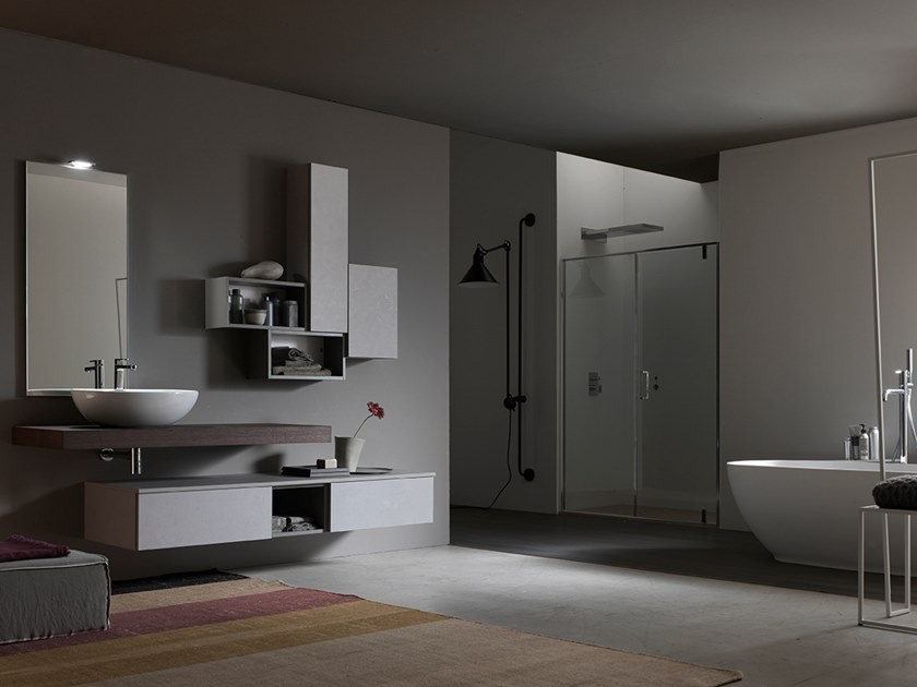 Sectional suspended bathroom cabinet with mirror E.LY INCLINATO - COMPOSITION 63 by Arcom