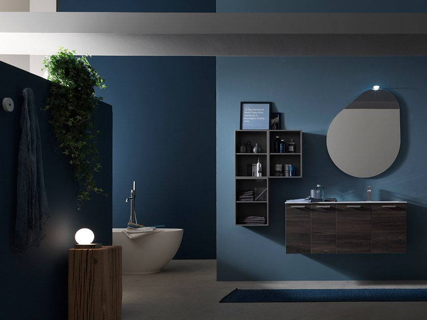 Sectional suspended bathroom cabinet E.LY INCLINATO - COMPOSITION 64 by Arcom