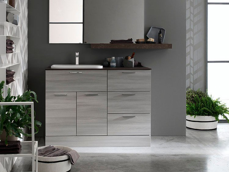 Sectional floorstanding bathroom cabinet with mirror E.LY INCLINATO - COMPOSITION 67 by Arcom