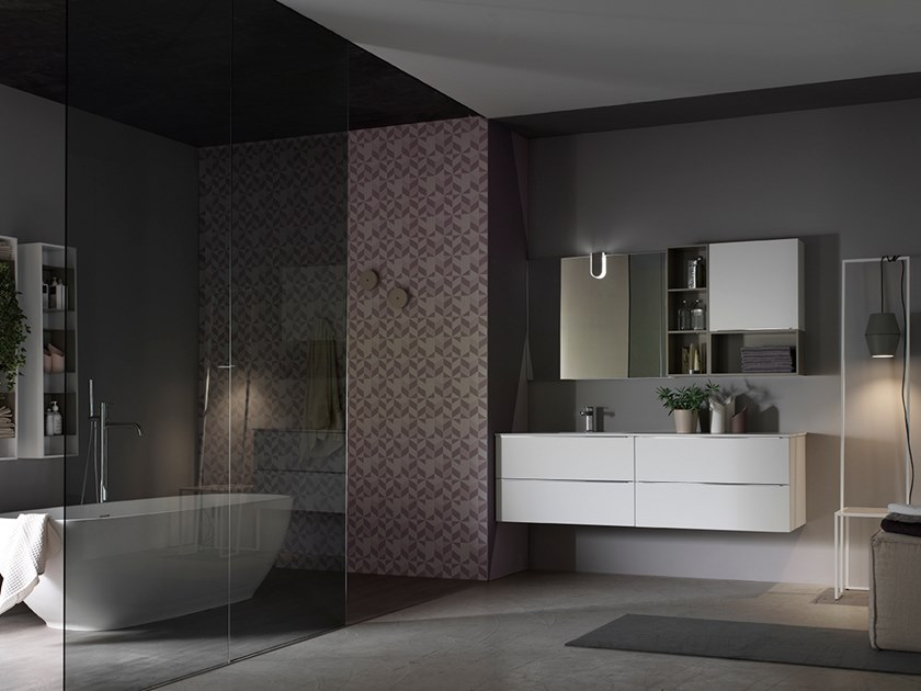 Sectional suspended bathroom cabinet with mirror E.LY INCLINATO - COMPOSITION 73 by Arcom