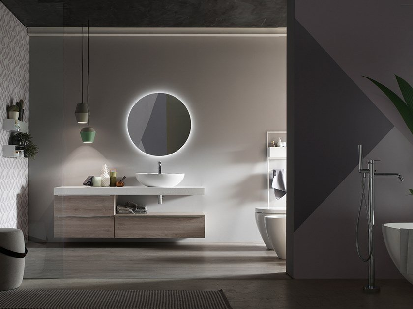 Sectional wall-mounted vanity unit with mirror E.LY INCLINATO - COMPOSITION 75 by Arcom