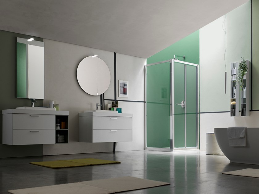 Sectional wall-mounted vanity unit with mirror E.LY INCLINATO - COMPOSITION 76 by Arcom
