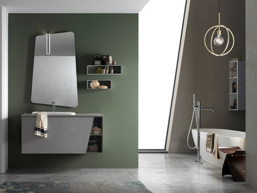 Sectional wall-mounted vanity unit with mirror E.LY INCLINATO - COMPOSITION 78 by Arcom