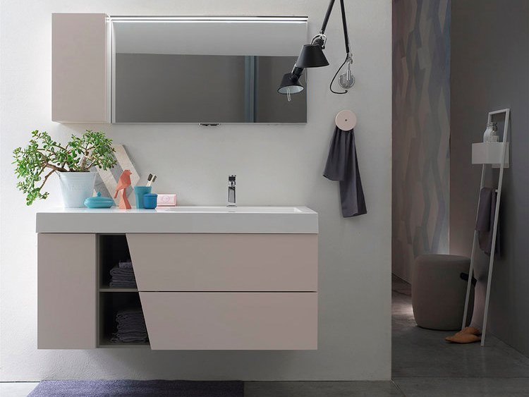 Sectional wall-mounted vanity unit with mirror E.LY INCLINATO - COMPOSITION 79 by Arcom