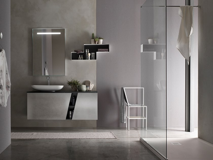 Sectional wall-mounted vanity unit with mirror E.LY INCLINATO - COMPOSITION 80 by Arcom