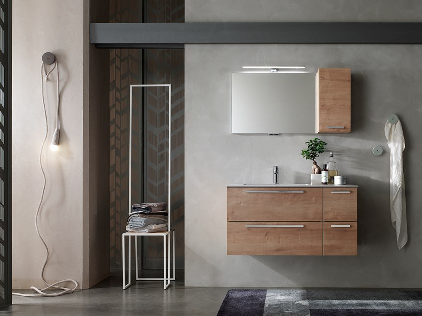 Sectional wall-mounted vanity unit with mirror E.LY INCLINATO - COMPOSITION 81 by Arcom