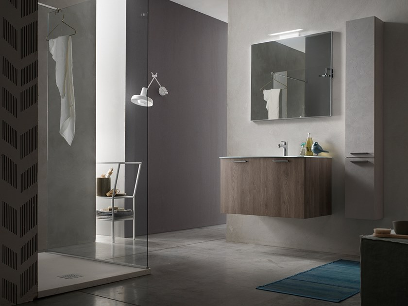 Sectional wall-mounted vanity unit with mirror E.LY INCLINATO - COMPOSIZIONE 82 by Arcom
