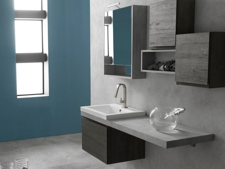 Sectional single suspended bathroom cabinet E.LY J - COMPOSITION 38 by Arcom