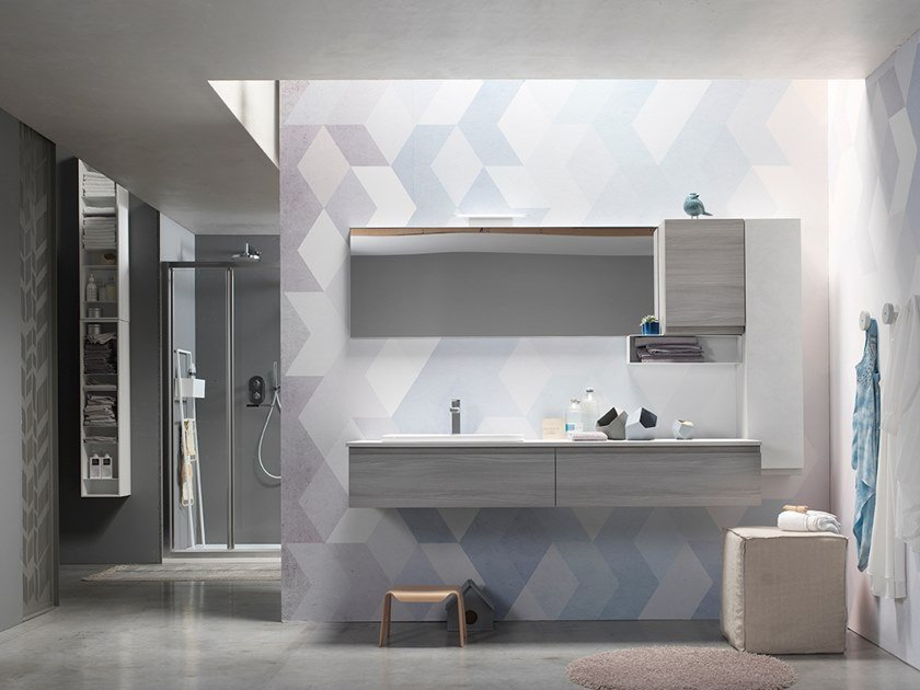 Sectional suspended bathroom cabinet with mirror E.LY J - COMPOSITION 66 by Arcom