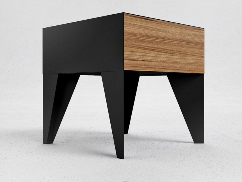 Oak veneered plywood and steel bedside table E11 | Bedside table by ODESD2