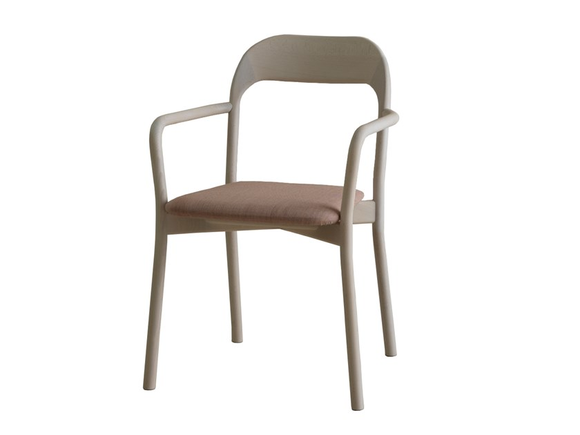 Upholstered beech chair with armrests EARL | CONTRACT | Upholstered chair by PIAVAL