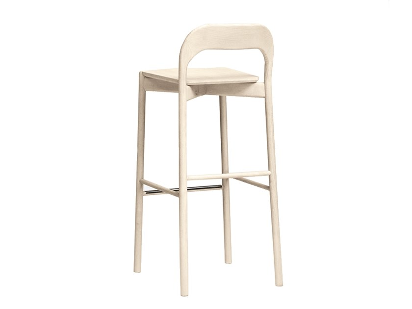 High beech barstool with footrest EARL | CONTRACT | High stool by PIAVAL